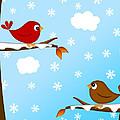 Christmas Red Cardinal Bird Pair Winter Scene by Jit Lim