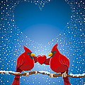 Christmas Red Cardinal Twig Snowing Heart by Frank Ramspott