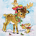 Christmas Reindeer And Rabbit by Diane Matthes