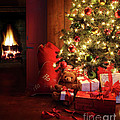 Christmas Scene With Tree And Fire In Background by Sandra Cunningham