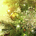 Christmas Tree Decorations With Sparkle Background by Sandra Cunningham