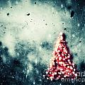 Christmas Tree Glowing On Winter Vintage Background by Michal Bednarek