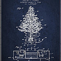Christmas Tree Lighting Patent from 1926 - Navy Blue by Aged Pixel
