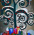 Christmas Tree Swirls And Curls by Eloise Schneider Mote