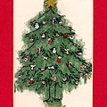 Christmas Tree With Red Mat by Mary Helmreich
