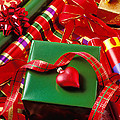 Christmas Wrap With Heart Ornament by Garry Gay
