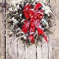 Christmas Wreath On Barn Door by Stephanie Frey