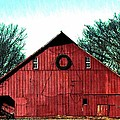 Christmas Wreath On Red Barn by Chris Berry