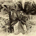 Christmasgift Under The Tree In Sepia by Iris Richardson