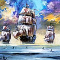 Christopher Columbus's Fleet  by English School
