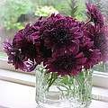 Chrysanthemums In A Glass Jar by Tanya  Searcy