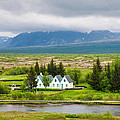 Church And Buildings National Park Pingvellir Iceland by Matthias Hauser