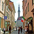 Church At End Of Street In Old Town Tallinn-estonia by Ruth Hager