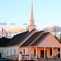 Church At Sunset by Mary Koval