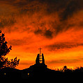 Church Cross Lit By Tucson Sunset by Michael Moriarty