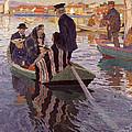 Church-goers In A Boat by Carl Wilhelmson
