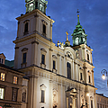 Church Of The Holy Cross At Night In Warsaw by Artur Bogacki