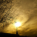 Church Steeple Clouds Parting by Jerry Cowart