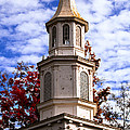 Church Steeple In Autumn Blue Sky Clouds Fine Art Prints As Gift For The Holidays by Jerry Cowart