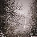 Church Steeple In The Snow by Debra Crank