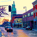 Church Street In Winter Melting Snow Sunset Reflections Montreal Urban City Landscape Scene Cspandau by Carole Spandau