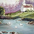 Church With Pond by Noreen Swanson