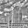 Cincinnati Ballpark Clouds Bw by Mel Steinhauer
