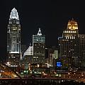 Cincinnati Skyline At Night by Constance Sanders