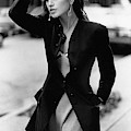 Cindy Crawford Wearing A Wool Coat Over A Slip by Arthur Elgort