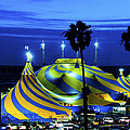 Circus Tent Swirls Of Blue Yellow Original Fine Art Photography Print  by Jerry Cowart