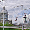 Cirque Carpe Diem Near Quays Along Saint Lawrence River In Montreal-qc by Ruth Hager