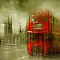 City-art London Red Buses by Melanie Viola