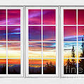 City Lights Sunrise View Through White Window Frame by James BO Insogna