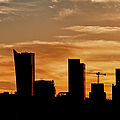 City Of Warsaw Skyline Silhouette by Artur Bogacki