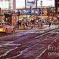 City Scene - Crossing The Street - The Lights Of New York by Miriam Danar