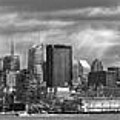 City - Skyline - Hoboken Nj - The Ever Changing Skyline - Bw by Mike Savad