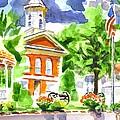 City Square In Watercolor by Kip DeVore