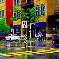 City Street Relections In The Rain Quebec Art Colors And Seasons Montreal Scenes Carole Spandau by Carole Spandau