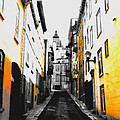 City Street Scene Black And Yellow Photograph by Laura Carter