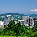 City With Mt. Hood In The Background by Panoramic Images