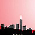 Cityscapes- New York City Skyline In Black On Red by Serge Averbukh