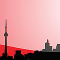Cityscapes - Toronto Skyline In Black On Red by Serge Averbukh