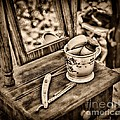Civil War Shaving Mug And Razor Black And White by Paul Ward