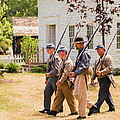 Civil War Soldiers Marching  by Chris Bordeleau