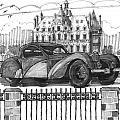 Classic Auto With Chateau by Richard Wambach