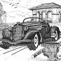 Classic Auto With Formal Gardens by Richard Wambach
