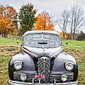 Classic Car In Autumn Farm Field by Edward Fielding