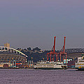 Classic Full Moon And Ferries Panorama by Scott Campbell
