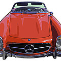 Classic Red Mercedes Benz 300 Sl Convertible Sportscar  by Keith Webber Jr