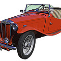 Classic Red Mg Tc Convertible British Sports Car by Keith Webber Jr